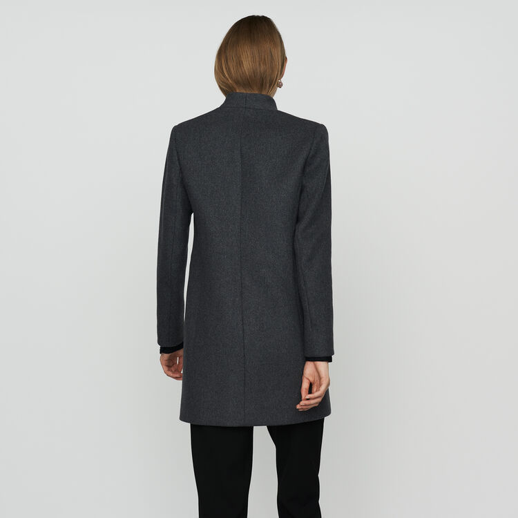 Straight coat with satin borders : Coats color Anthracite