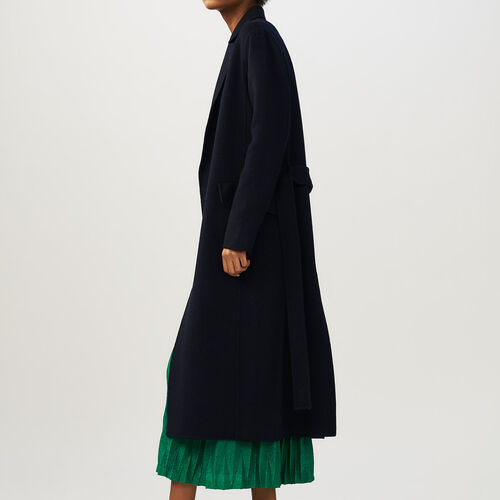 Long double-faced coat : Coats color Navy
