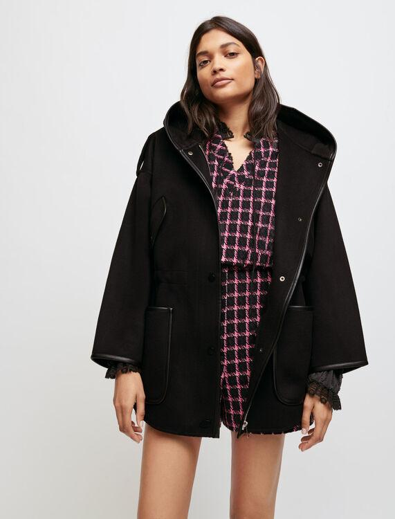 Oversized, double face hooded coat - Coats - MAJE