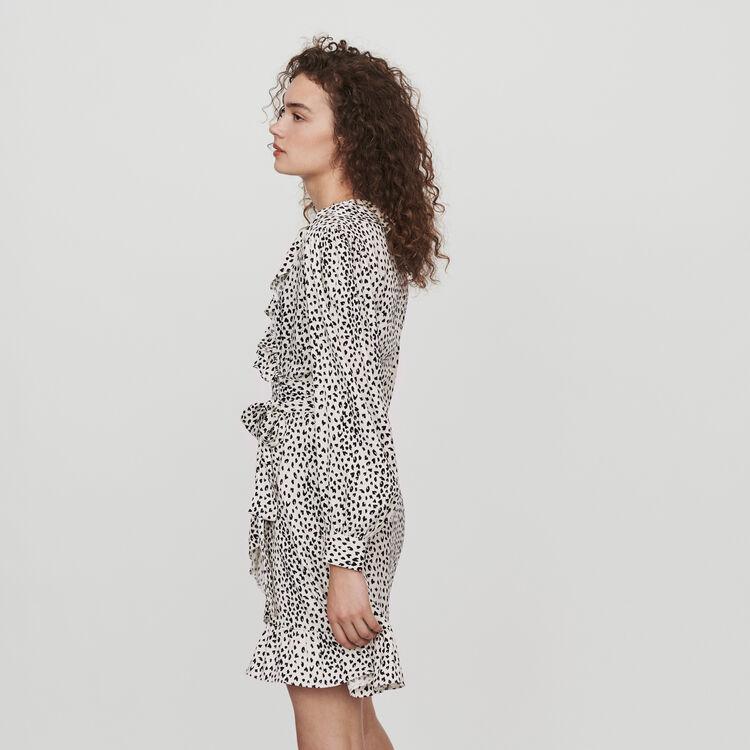 Printed jacquard wrap dress : Dresses color White