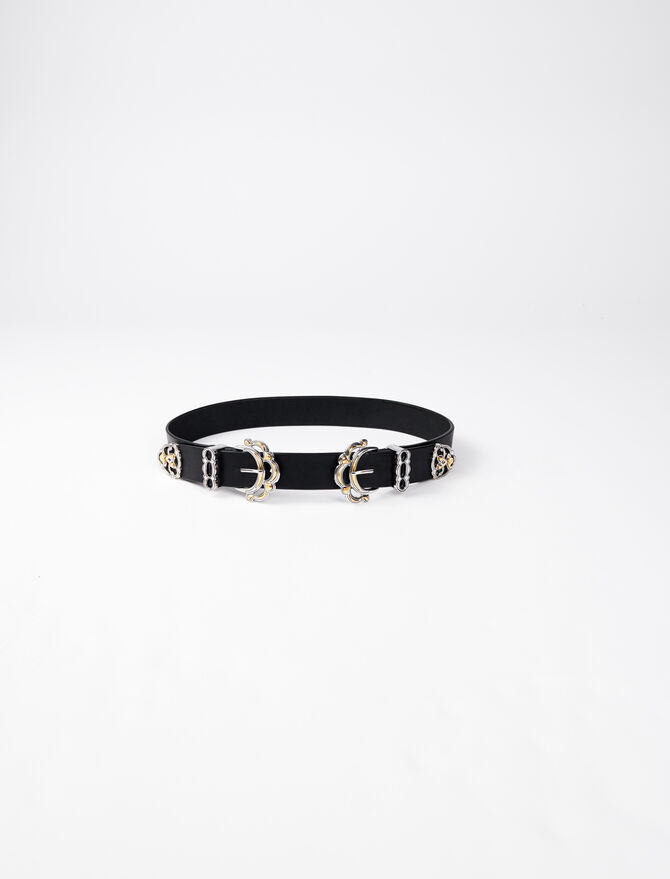 Leather belt with double buckle -  - MAJE