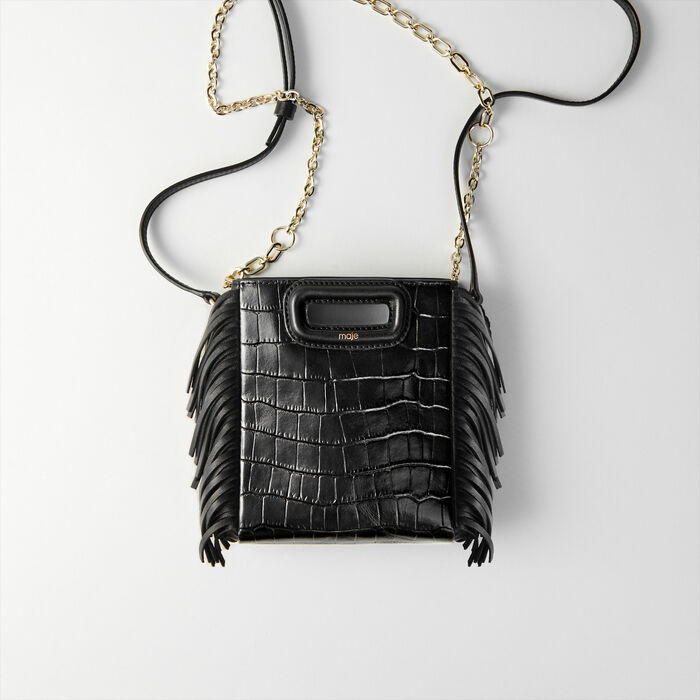 Mini embossed-leather M bag with chain : M Mini color Black