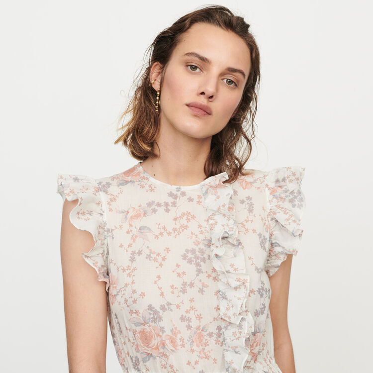 Long floral-print ruffled dress : Dresses color Pink