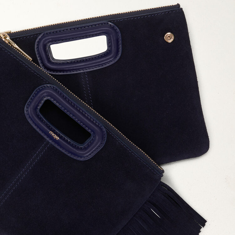 M Duo clutch in suede : M Duo color Navy