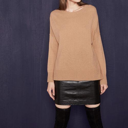 Loose cashmere jumper : Sweaters & Cardigans color Camel
