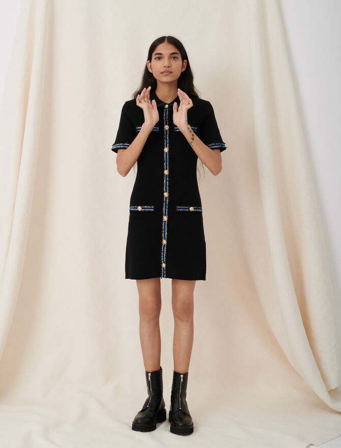 Knitted dress with velvet details - New collection - MAJE