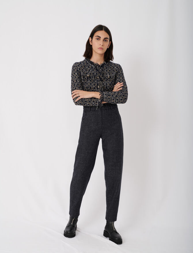 Checked trousers in recycled wool - tout voir - MAJE