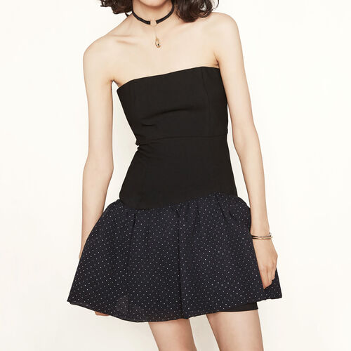Bustier dress with studded ruffles : Dresses color Black 210