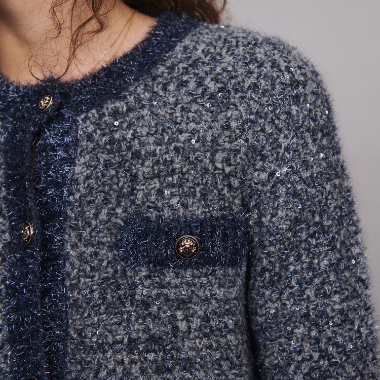 Fancy Lurex knit cardigan : Knitwear color Blue