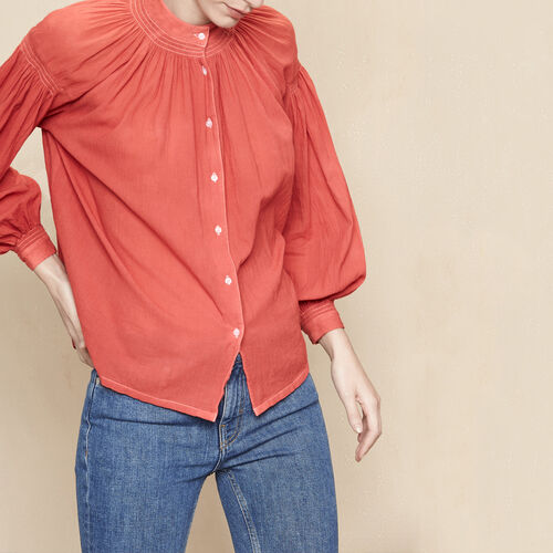 Floaty blouse with smocking : Tops color Brick