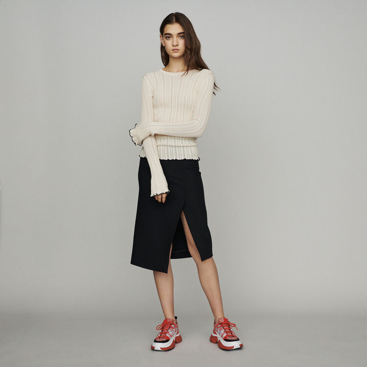 Sweater with pointelle knit : Knitwear color Off White