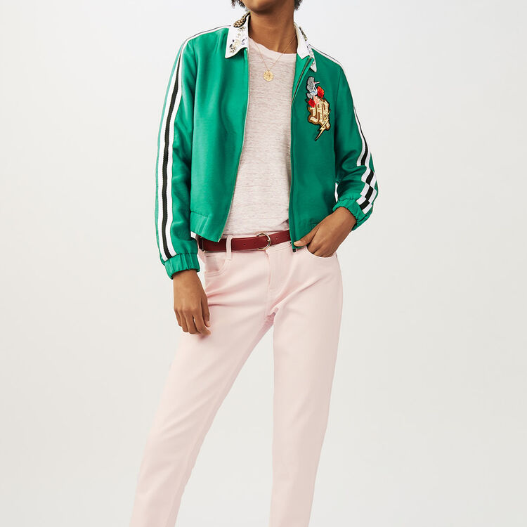 Cropped jacket with bejeweled collar : Jackets color Green