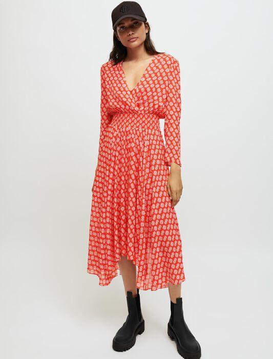 Smocked Maje printed dress : Maxi dresses color M Red Monogram