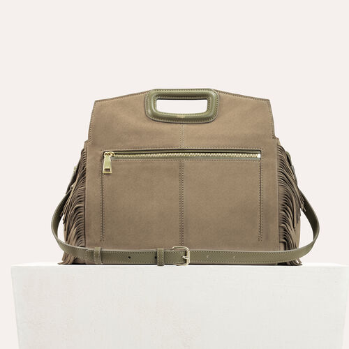 Suede shoulder bag : Sacs color Khaki