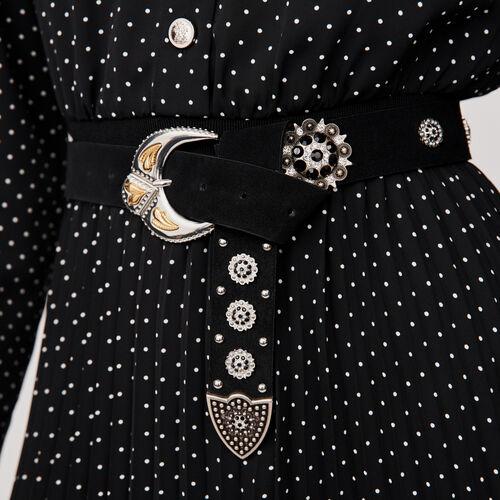 Studded-suede belt : Belts color Black