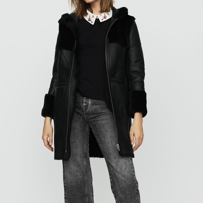 Long shearling coat with mixed material - See all - MAJE