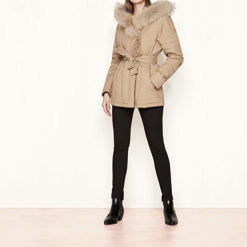 Parka belted at the waist : Coats color Beige