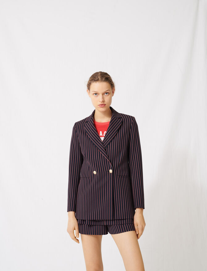 Striped double-breasted jacket - Blazers - MAJE