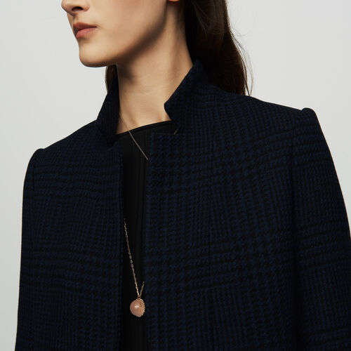 Straight houndstooth coat : Coats color Navy