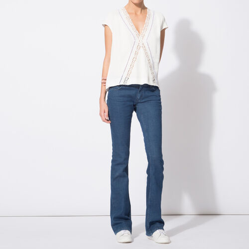 Untreated flared jeans in stretch cotton : Trousers & Jeans color Denim