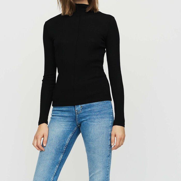 Tee shirt in wool jersey : Knitwear color BLACK