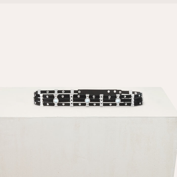 Leather belt with studs and rhinestones : Belts color Black 210