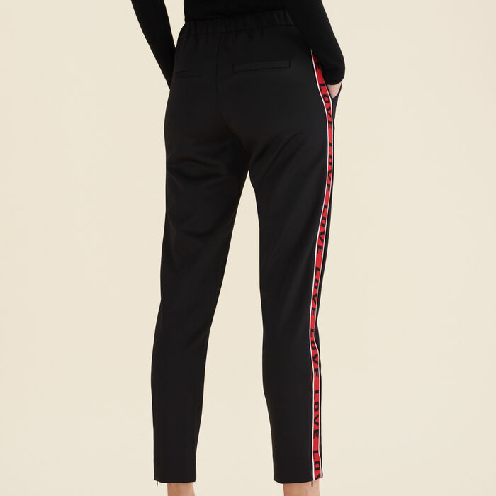 Satin trousers with bands : Trousers color Black 210