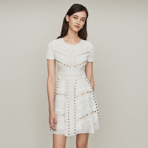 Short skater dress with studs : Dresses color White