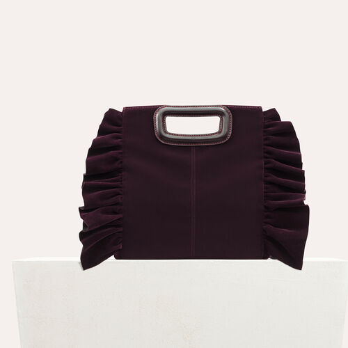 Frilled velvet M bag : Bags color BORDEAUX