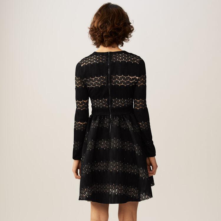Rounded hem basket weave dress : Dresses color BLACK