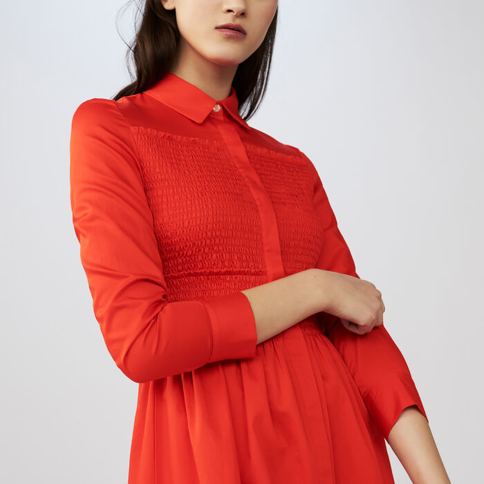 Embroidered shirt dress : Dresses color Red