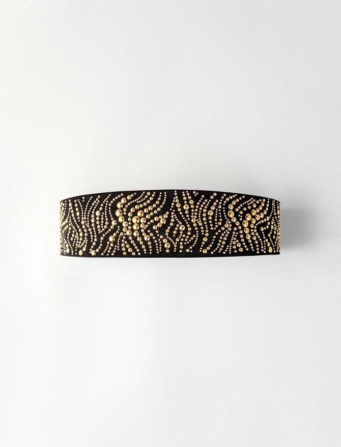 High waisted studded leather belt - Belts - MAJE