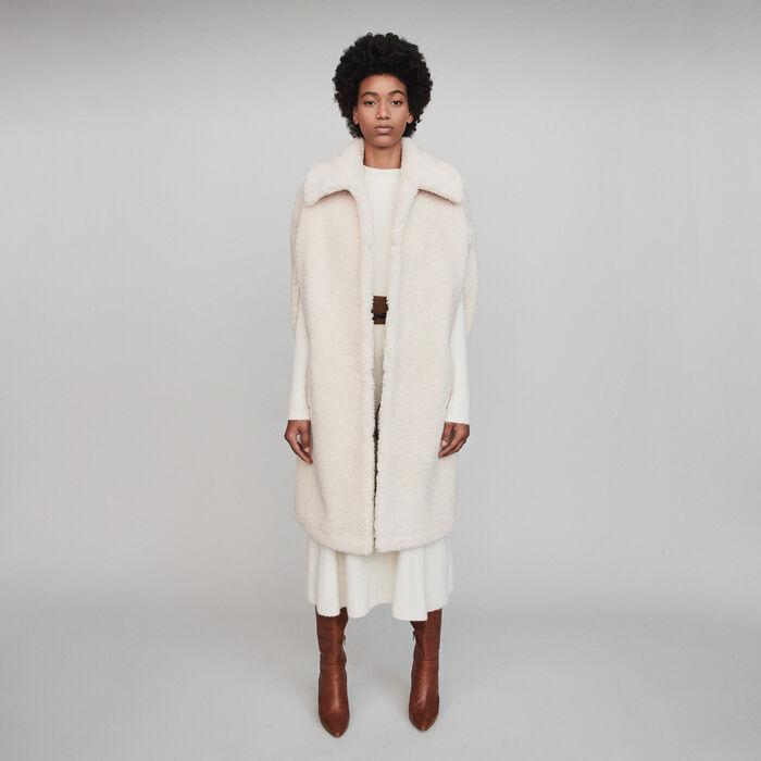 Faux fur cape coat : Coats & Jackets color Ecru