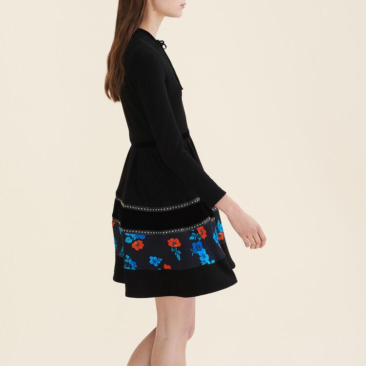 Mixed fabric skater dress : Dresses color Black 210