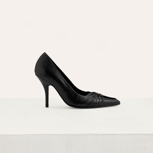 Draped leather pumps : Office girl color Black 210