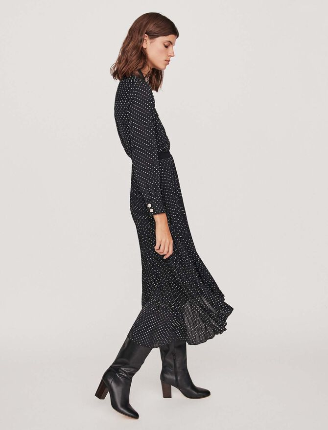 Long pleated dress with polka dots - All the collection - MAJE