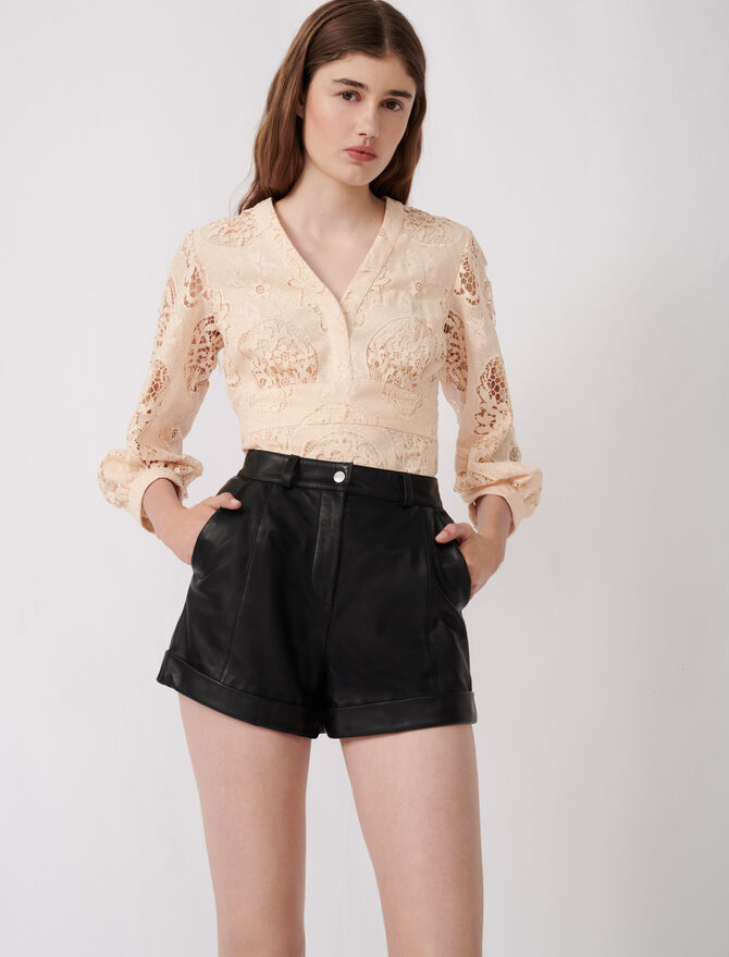 Cuffed shorts with topstitching - Skirts & Shorts - MAJE