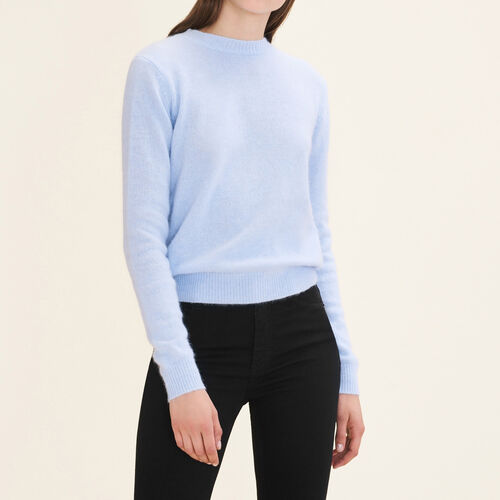 Backless angora jumper : Knitwear color Blue Sky