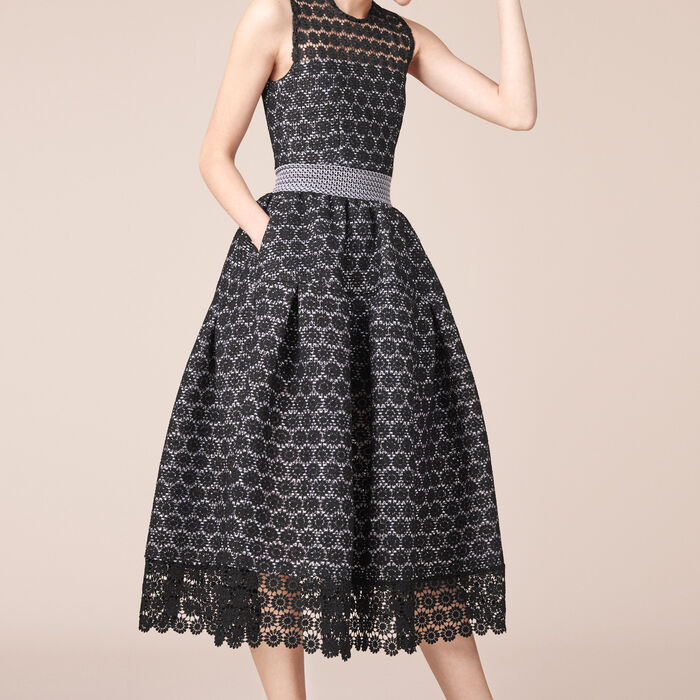 Long bonded lace dress -  - MAJE