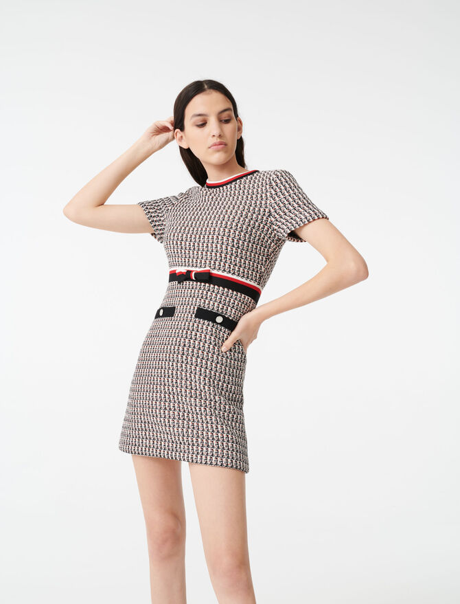 Lurex tweed-style dress with bands -  - MAJE