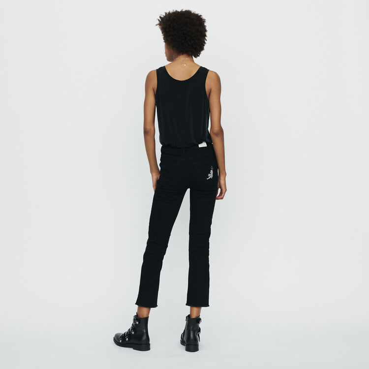 Straight jeans with fringe : Trousers & Jeans color Black 210