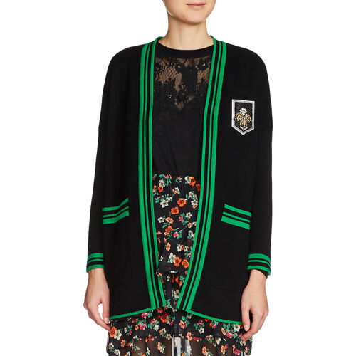 Mid-length cardigan with crest : Sweaters & Cardigans color Black 210