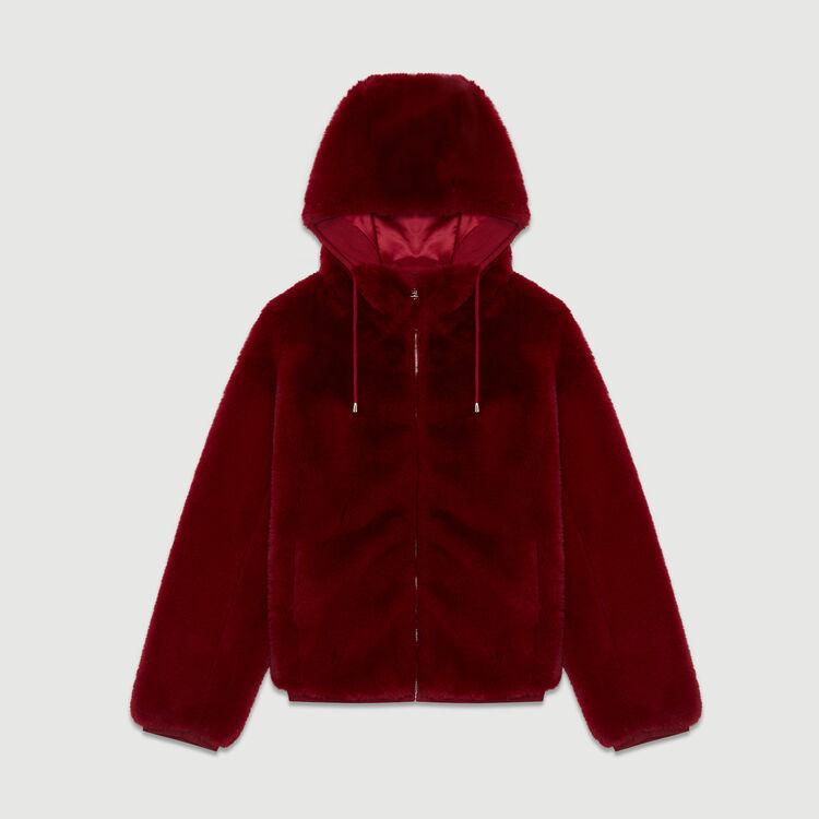 Cropped faux fur jacket : Jackets color Raspberry