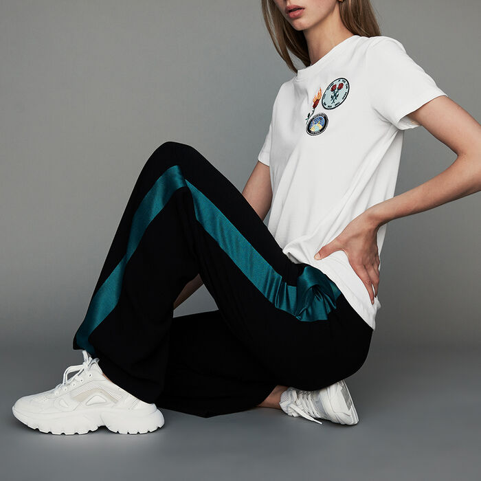 Wide bicolor pants : New Collection color Black 210