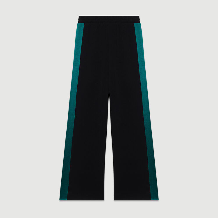Wide bicolor pants : Trousers color Black 210