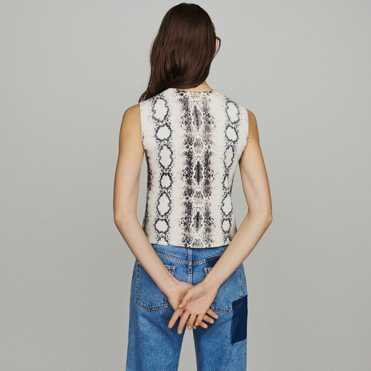 Sleeveless sweater in python print : Knitwear color Printed