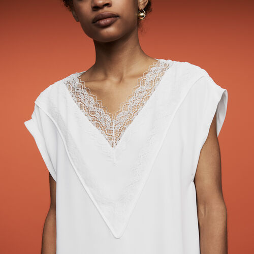 Oversized top with lace : Ready to wear color White