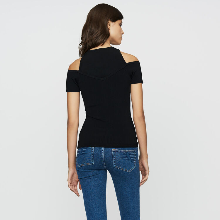 Stretch-knit shoulder T-shirt : Knitwear color Black 210