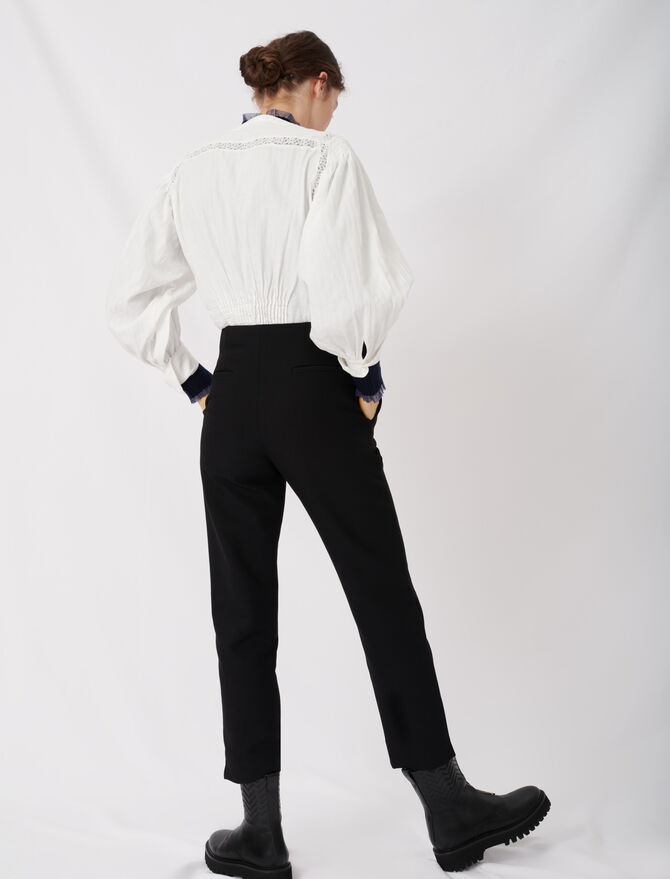 Straight pants belted -  - MAJE