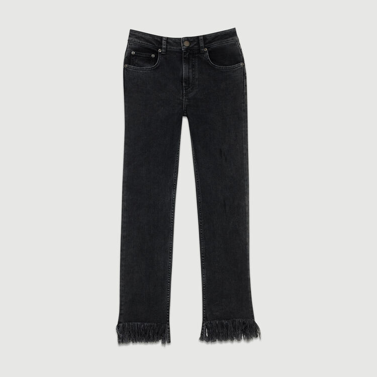 Wide-leg jeans with fringe : Jeans color Black 210